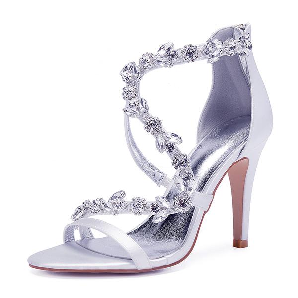 Women's Silk Like Satin Stiletto Heel Peep Toe Pumps Sandals With Rhinestone Zipper Chain