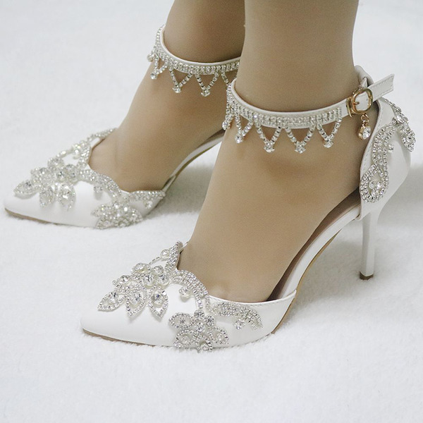 Women's Leatherette Stiletto Heel Closed Toe Pumps Sandals MaryJane With Buckle Rhinestone Chain