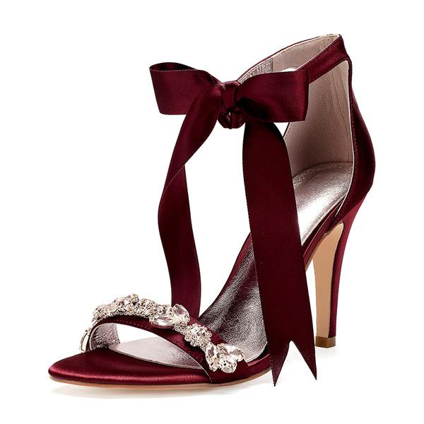 Women's Silk Like Satin Stiletto Heel Peep Toe Pumps Sandals With Bowknot Rhinestone Ribbon Tie Lace-up